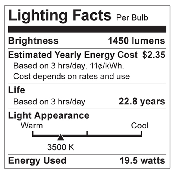80-904 Lighting Fact Label