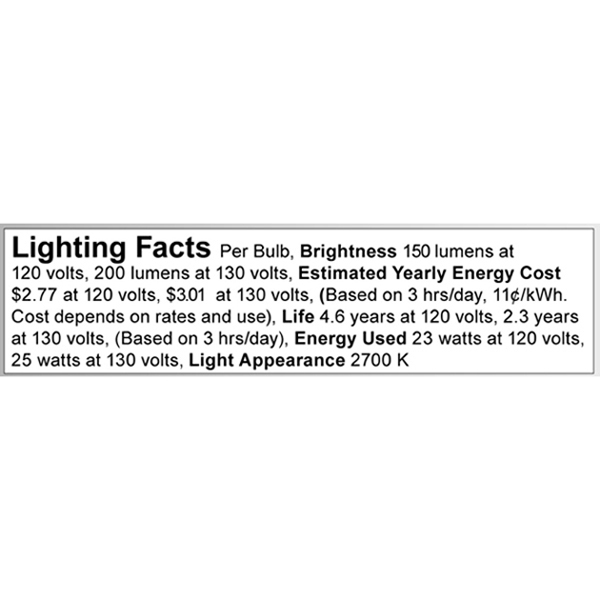 A3634 Lighting Fact Label