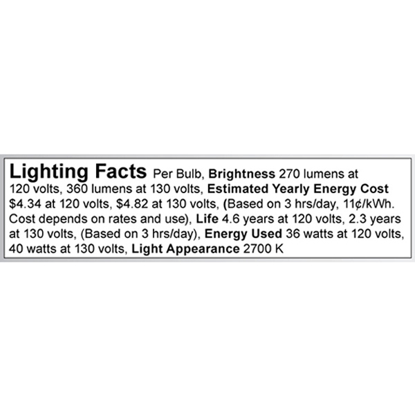 A3635 Lighting Fact Label