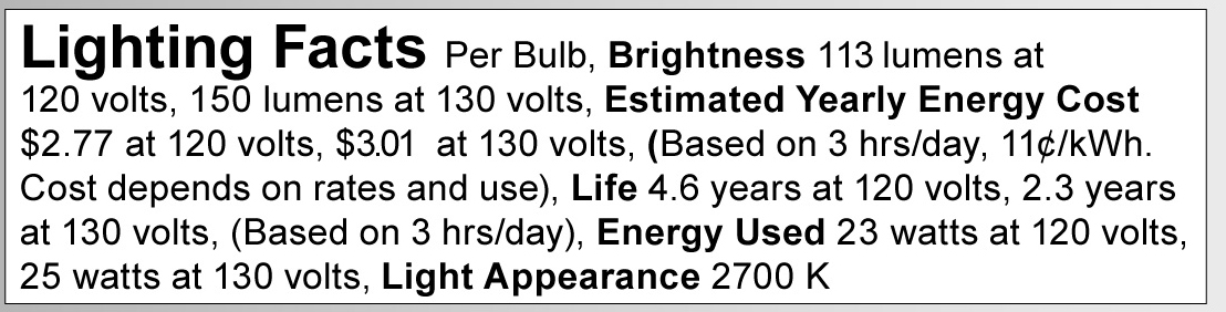 A3637 Lighting Fact Label