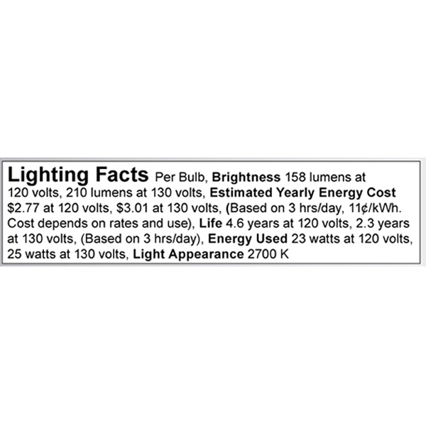 A3664 Lighting Fact Label