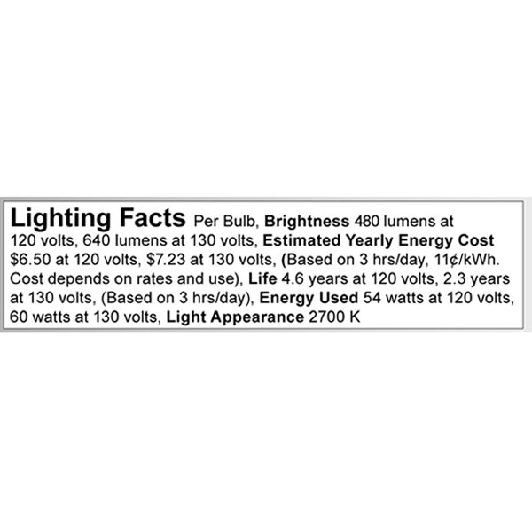 A3696 Lighting Fact Label