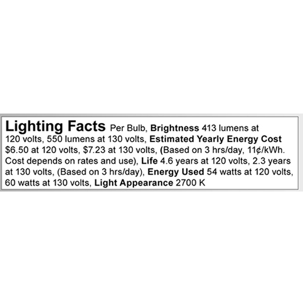A3699 Lighting Fact Label