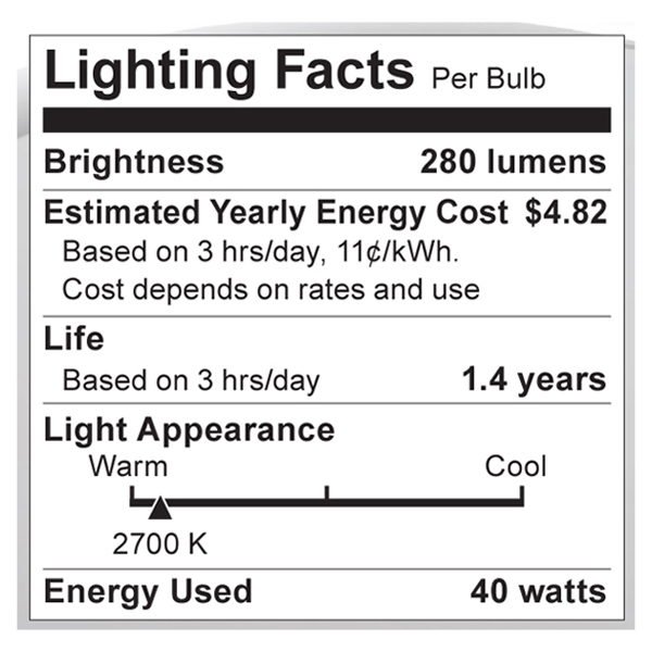 S1810 Lighting Fact Label