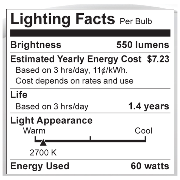 S1811 Lighting Fact Label