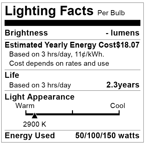 S1821 Lighting Fact Label