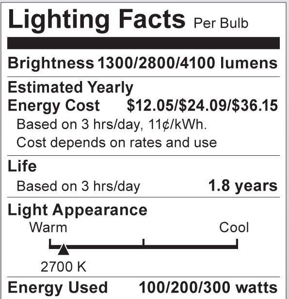 S1826 Lighting Fact Label