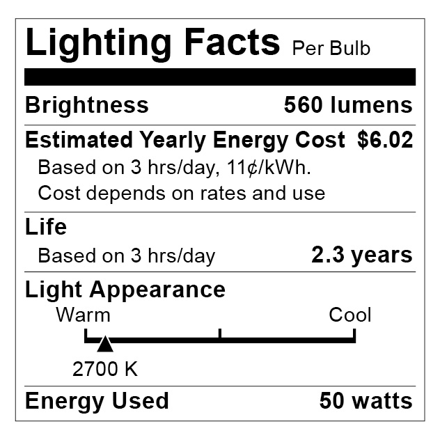 S2215 Lighting Fact Label