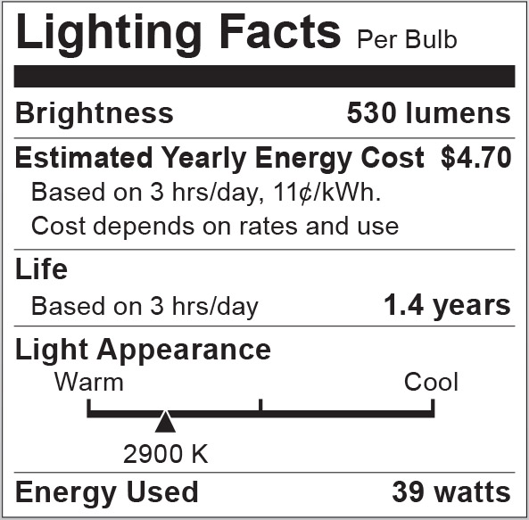 S2267 Lighting Fact Label