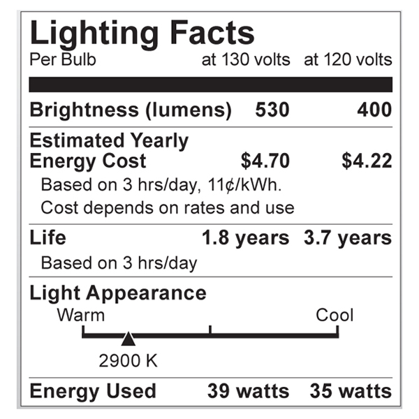 S2327 Lighting Fact Label