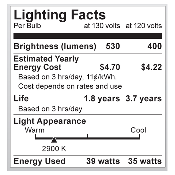 S2332 Lighting Fact Label
