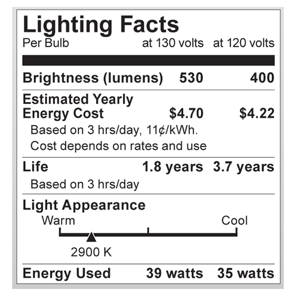 S2333 Lighting Fact Label