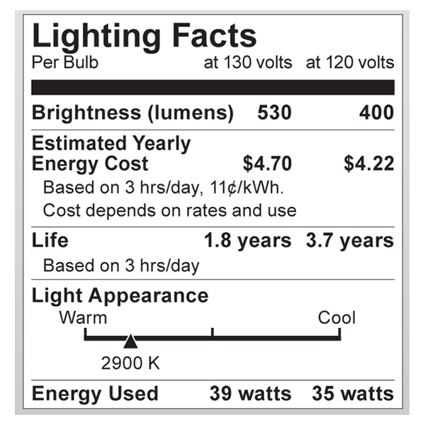 S2334 Lighting Fact Label