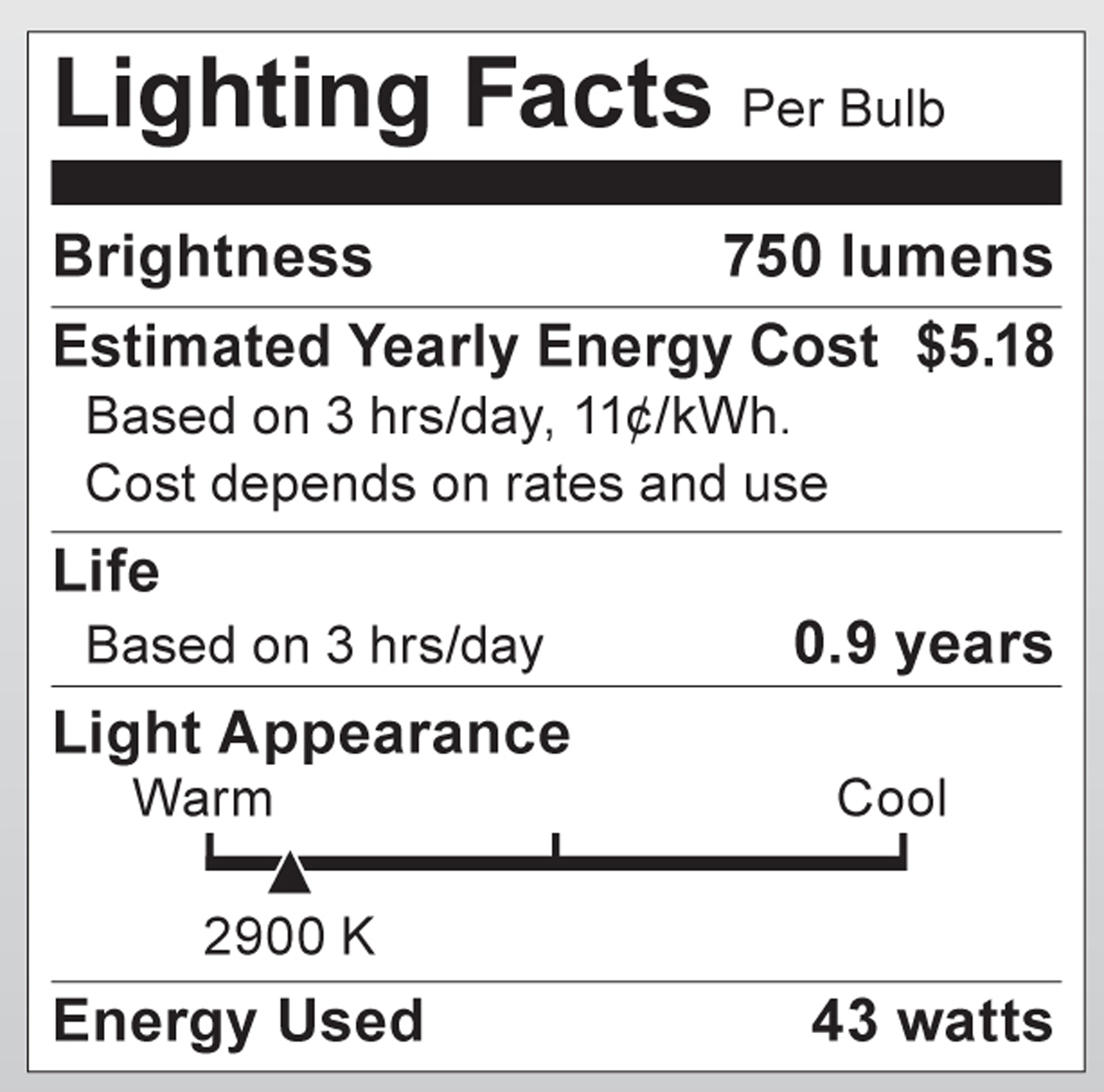 S2402 Lighting Fact Label
