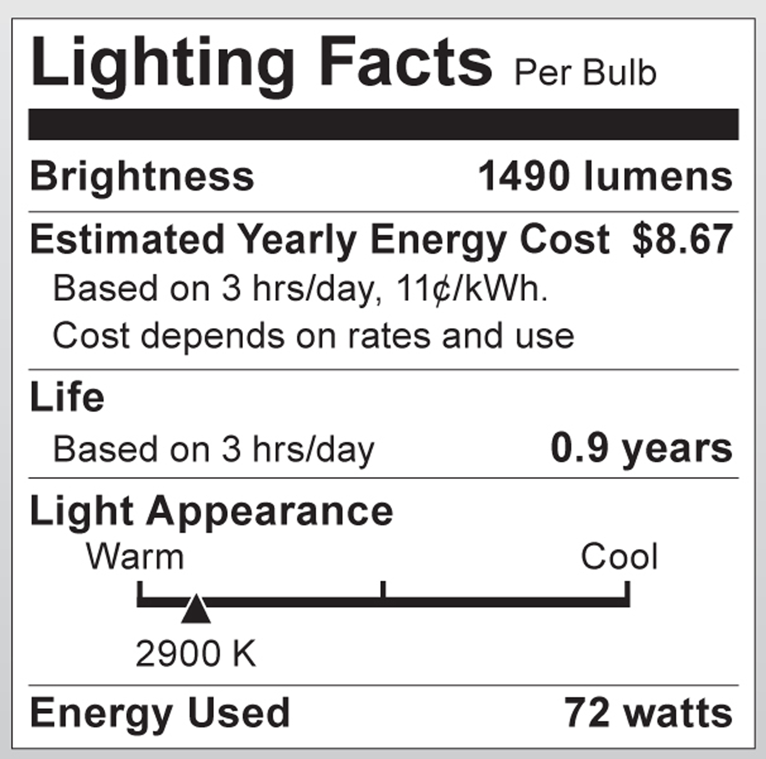 S2404 Lighting Fact Label