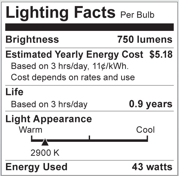 S2406 Lighting Fact Label