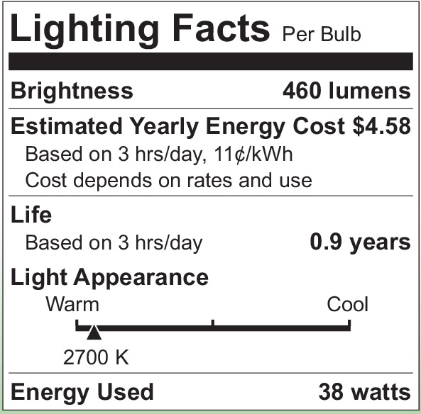 S2501 Lighting Fact Label
