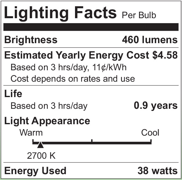 S2511 Lighting Fact Label