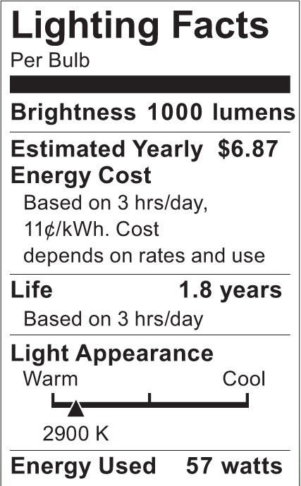 S2526 Lighting Fact Label