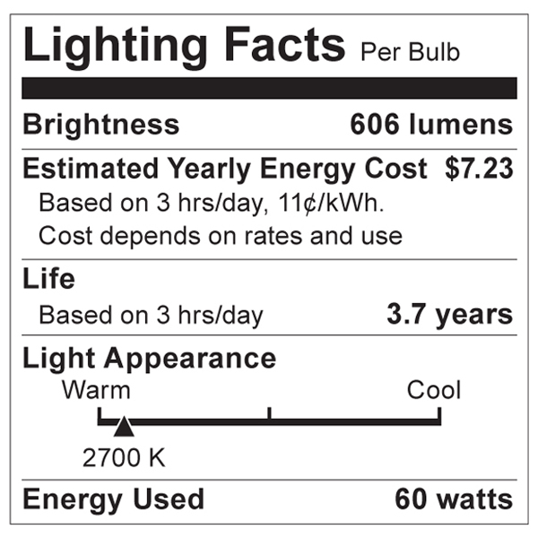 S2715 Lighting Fact Label