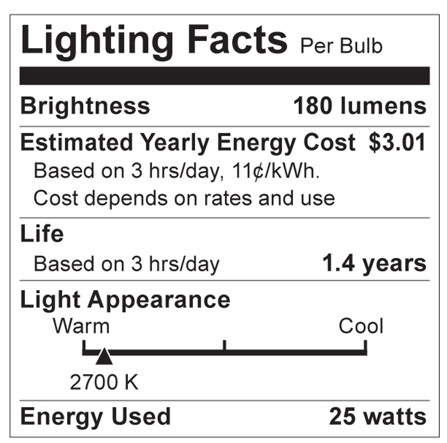 S2763 Lighting Fact Label
