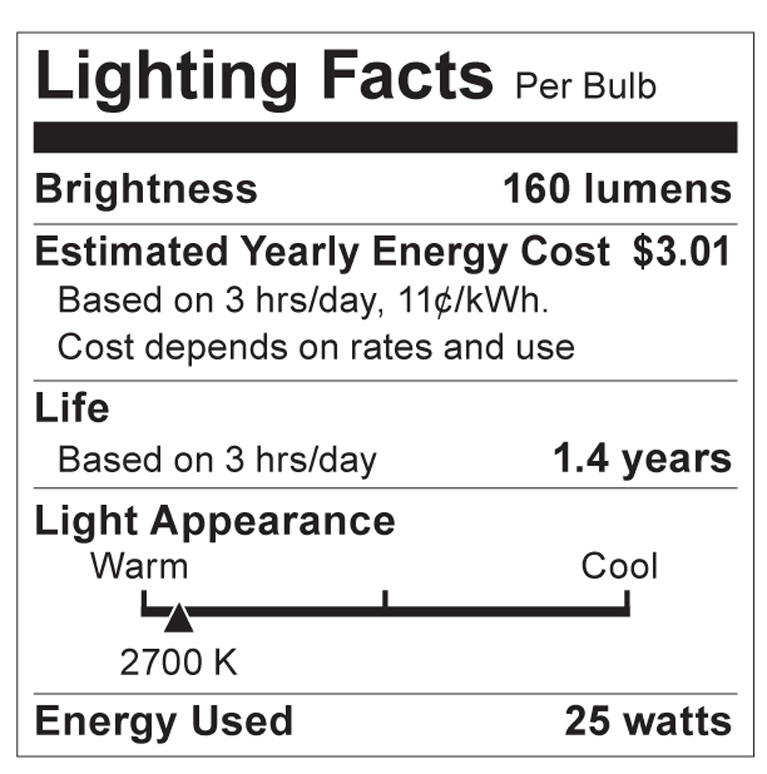 S2764 Lighting Fact Label