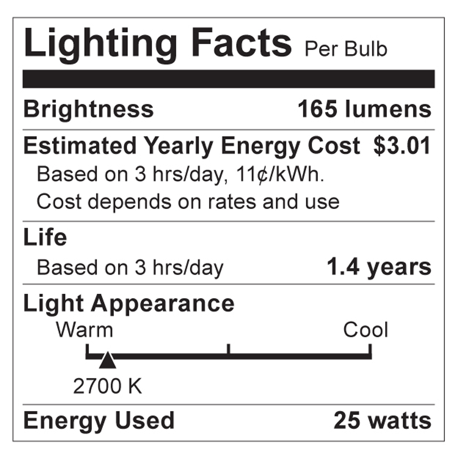 S2765 Lighting Fact Label