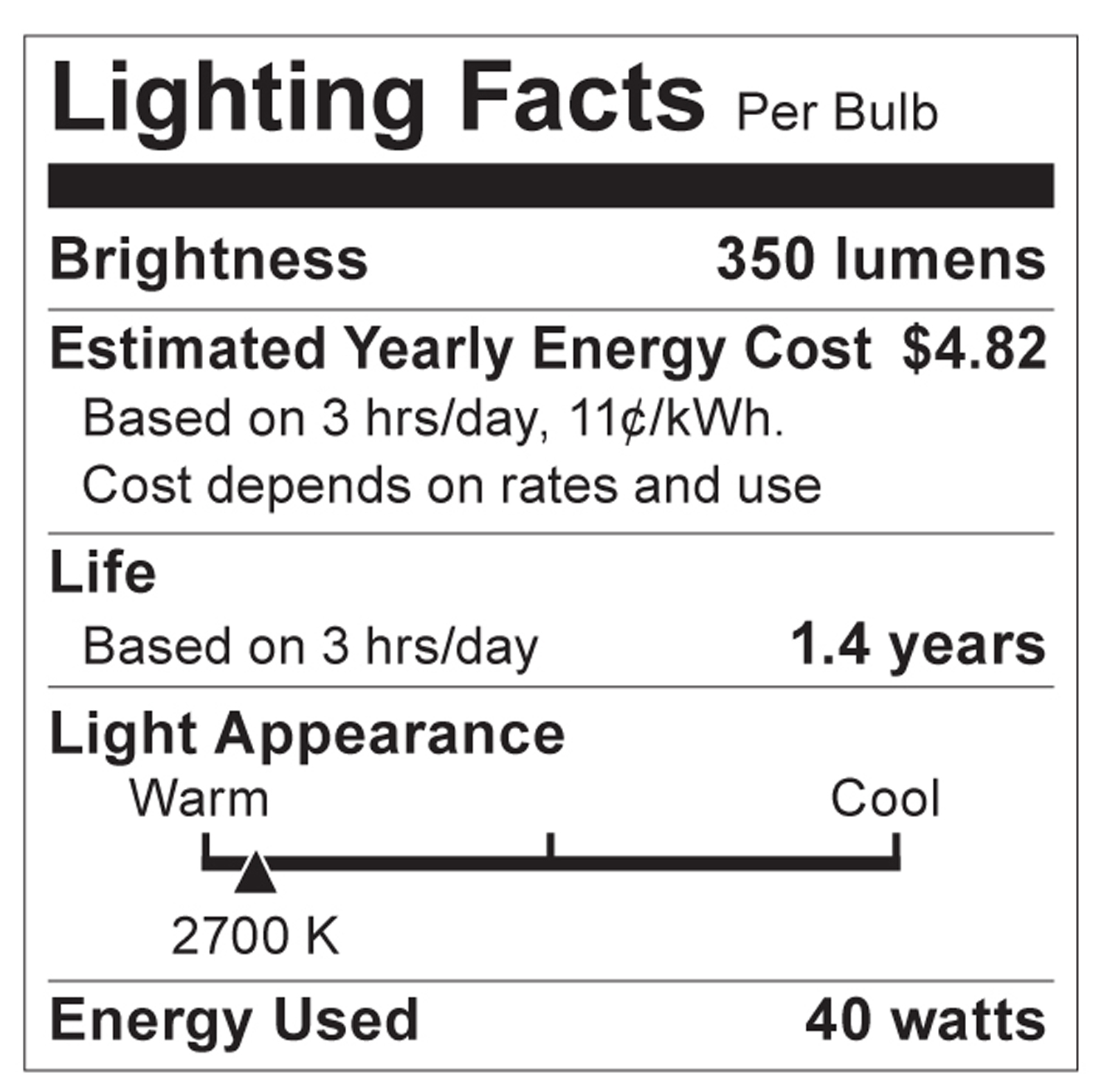 S2767 Lighting Fact Label