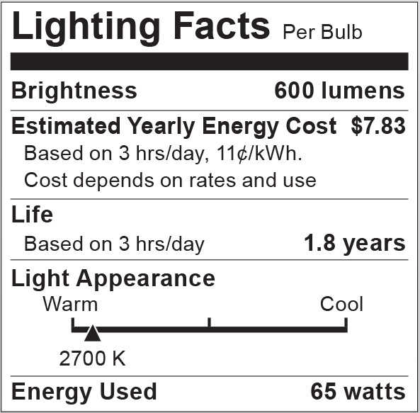 S2806 Lighting Fact Label