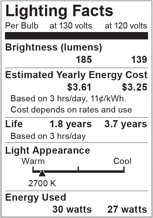 S2810 Lighting Fact Label