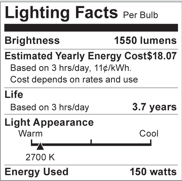 S3004 Lighting Fact Label