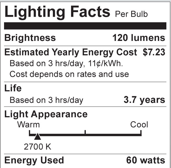 S3012 Lighting Fact Label