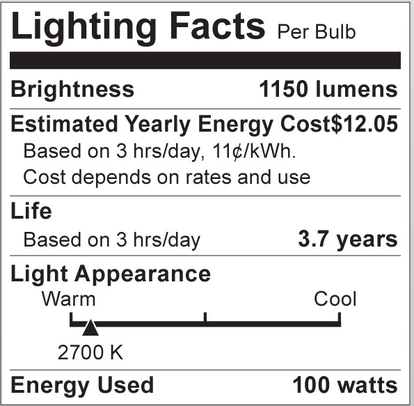 S3013 Lighting Fact Label