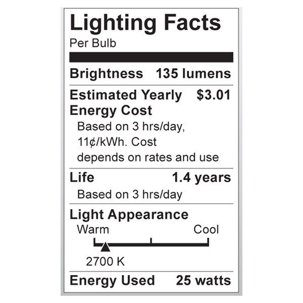 S3205 Lighting Fact Label