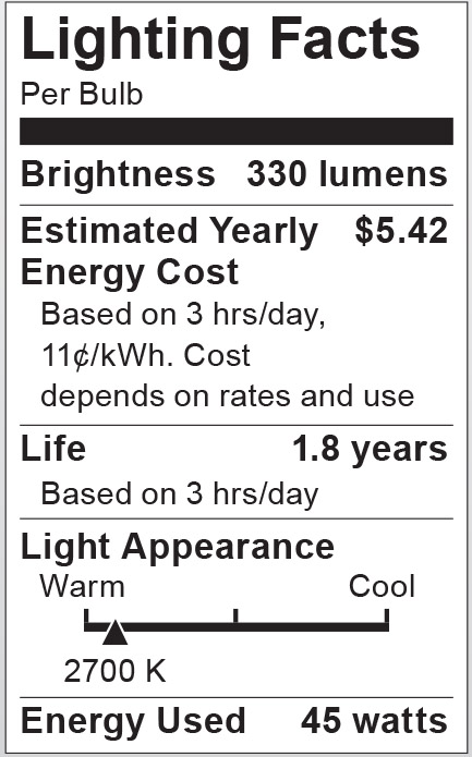 S3229 Lighting Fact Label