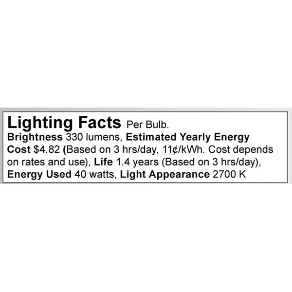 S3238 Lighting Fact Label