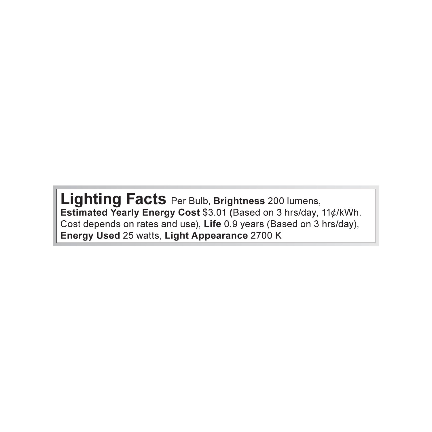 S3251 Lighting Fact Label