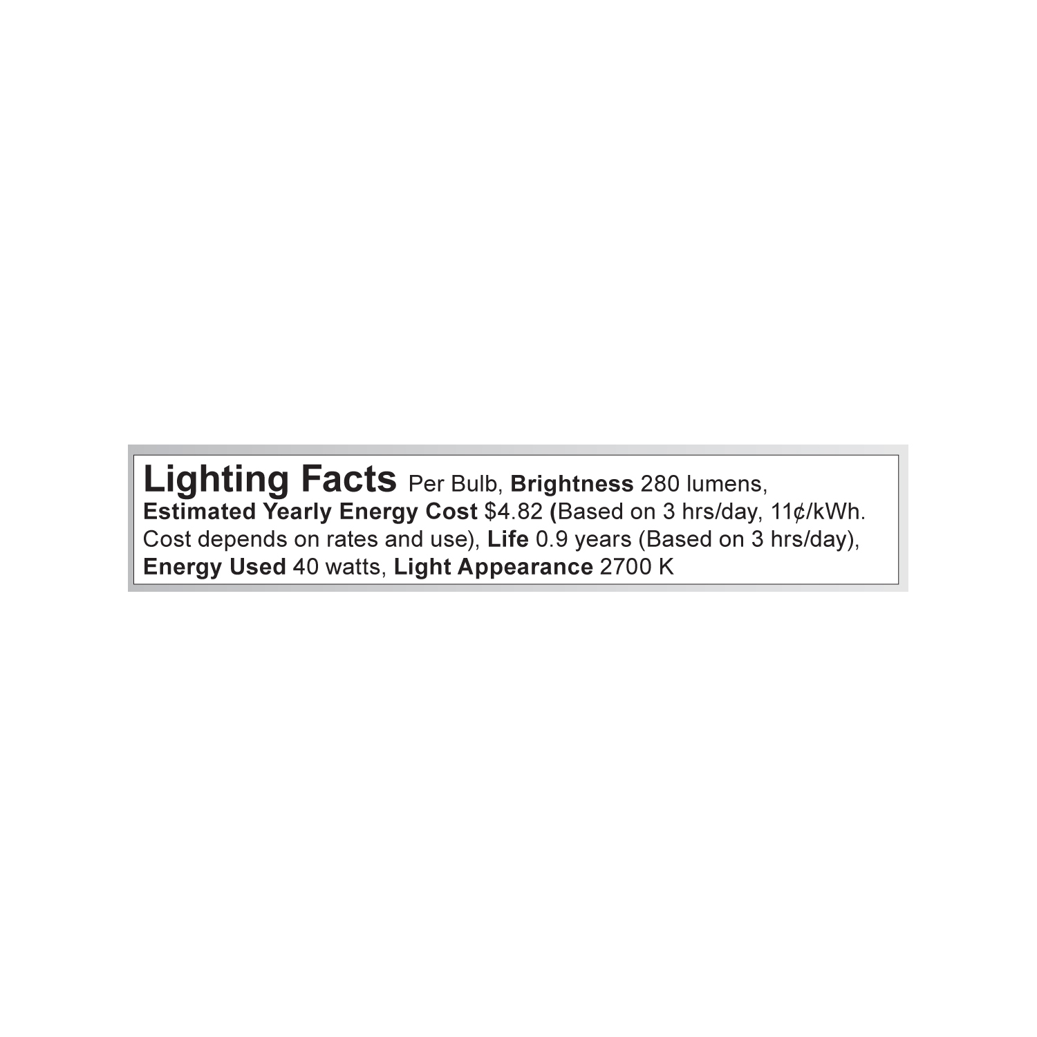S3253 Lighting Fact Label