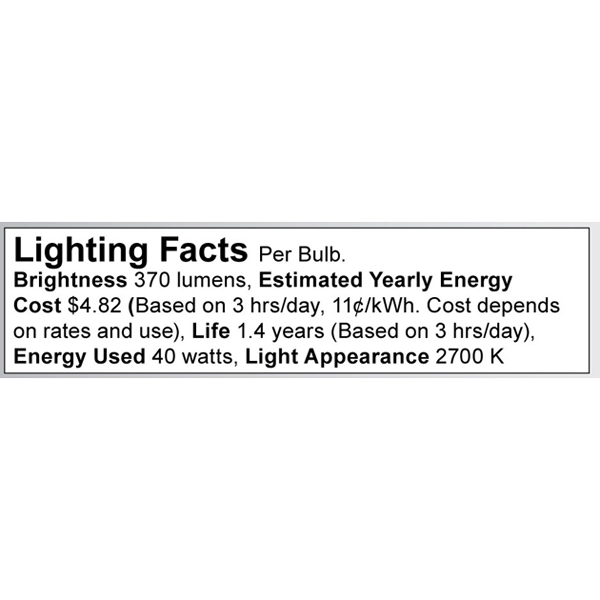 S3265 Lighting Fact Label