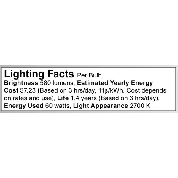 S3299 Lighting Fact Label