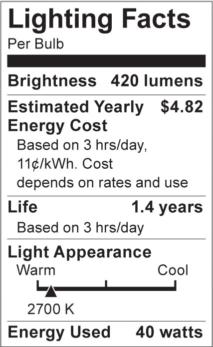 S3369 Lighting Fact Label