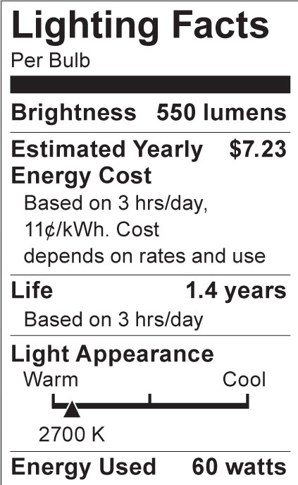S3375 Lighting Fact Label