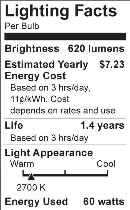 S3376 Lighting Fact Label