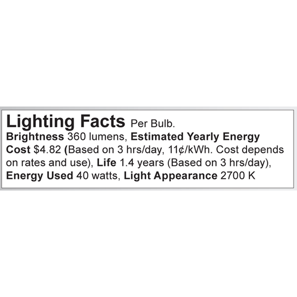 S3381 Lighting Fact Label