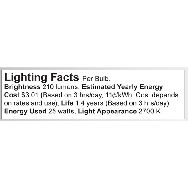 S3390 Lighting Fact Label