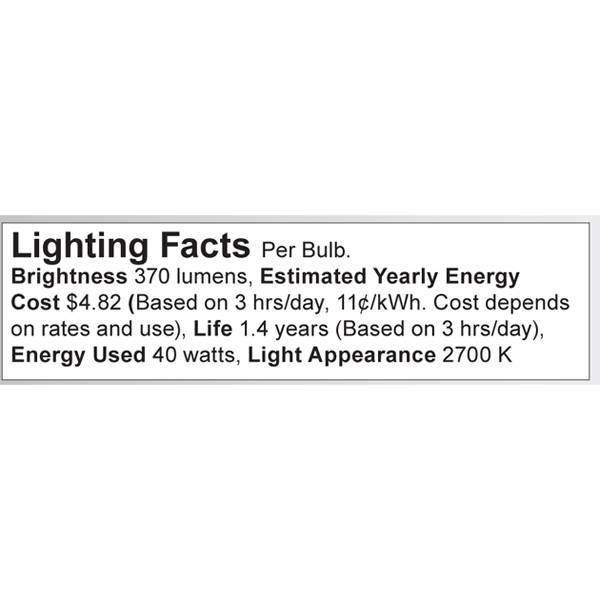 S3391 Lighting Fact Label