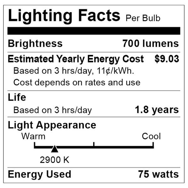 S3438 Lighting Fact Label