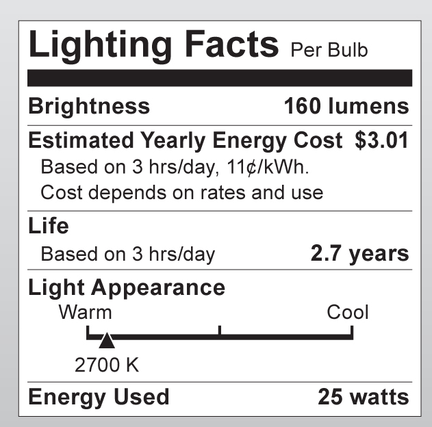 S3440 Lighting Fact Label