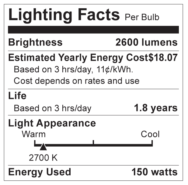 S3474 Lighting Fact Label