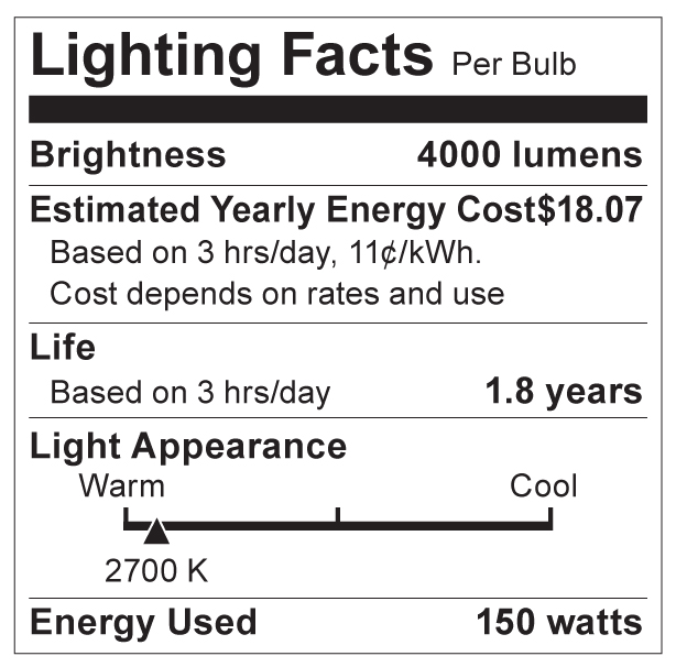 S3475 Lighting Fact Label